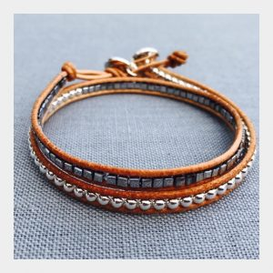 Tan Leather Hematite Wrap Bracelet