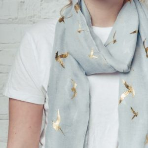 Grey Scarf With Gold Bird Foil Detail