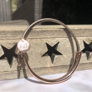 Rose Gold Bracelet With Taupe Cord Detail