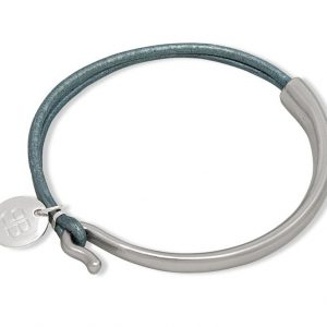 Silver Bracelet With Grey Cord Detail