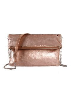 Blush Sequin Clutch Bag