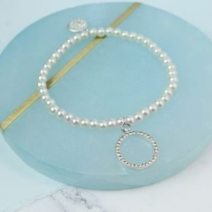Faux Pearl Stretch Bracelet With Crystal Hoop