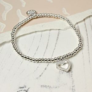 Silver Bracelet With Crystal Heart Charm