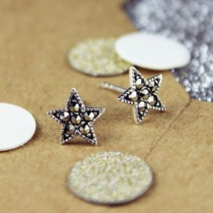 Marcasite Sterling Silver Star Studs