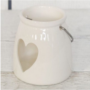 Small White Heart Ceramic Tealight Holder