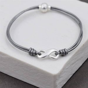 Grey Leather Bracelet With Infinity Charm