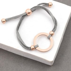 Grey Suede Bracelet With Rose Gold Open Circle
