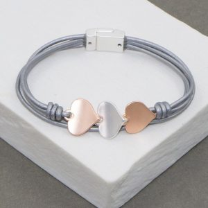 Leather Bracelet In Silver Tone With Tri-Colour Hearts