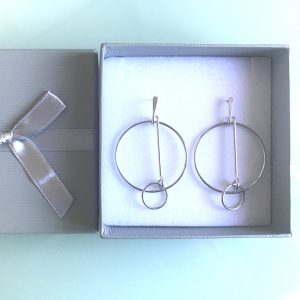 Silver Rhodium Plated Double Hoop Drop Earrings