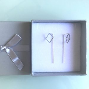 Silver Plated Thread Earrings With Square Feature