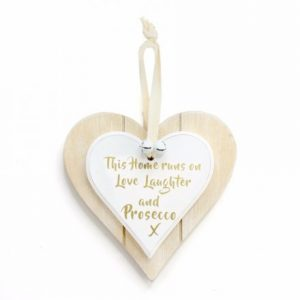 Love Laughter & Prosecco Wooden Heart Plaque