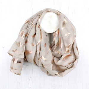 Rose Gold Foil Feather Scarf