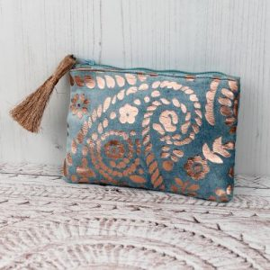 Aqua Velvet Purse With Rose Gold Paisley Print