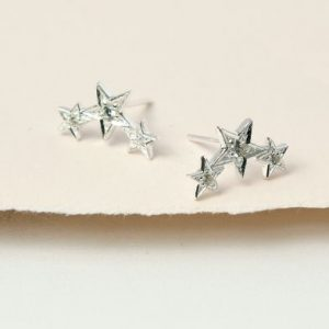 Sterling Silver Triple Star Crystal Stud Earrings