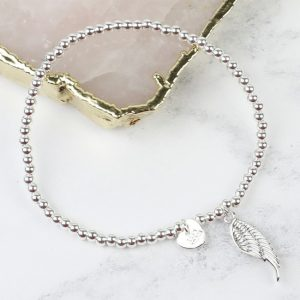 Silver Angel Wing Beaded Bracelet
