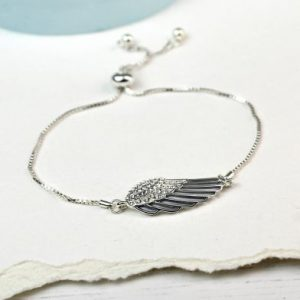 Silver Angel Wing Bracelet With Crystals