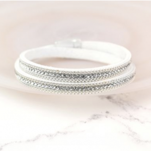 Ivory Wrap Bracelet With Clear Crystal Detail
