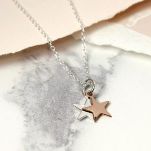 Sterling silver necklace with silver and rose gold stars