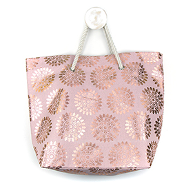 Pink Beach Bag With Rose Gold Foil Print