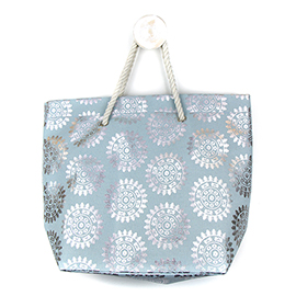 Blue Beach Bag With Silver Foil Print