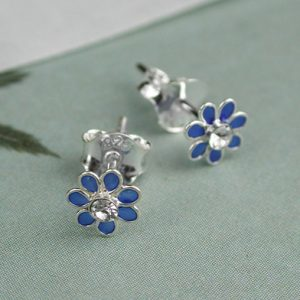 Blue Flower Stud Earrings In Sterling Silver