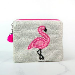 Flamingo Purse With Beaded Embellishment
