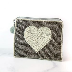 Grey Purse With Embellished Pearl Heart