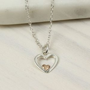 Heart Necklace In Silver And Rose Gold