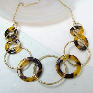 Gold Necklace With Acrylic Tortoiseshell Hoops