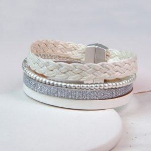 White Wrap Bracelet With Magnetic Clasp