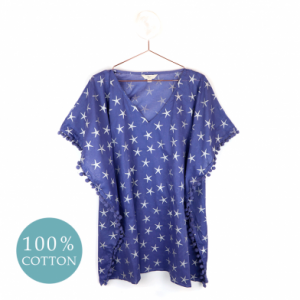 Blue Cotton Kaftan With Silver Starfish Print
