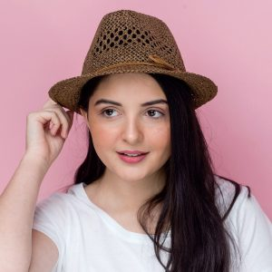 Brown Trilby Straw Effect Summer Hat