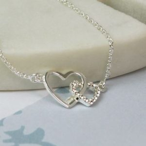 Linked Hearts Sterling Silver Crystal Necklace