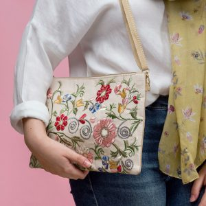 Floral Embellished Crossbody Handbag