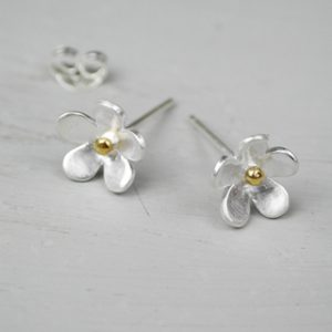Matt Silver Flower Stud Earrings