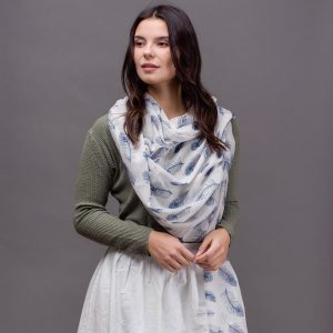 White Scarf With Blue Peacock Print