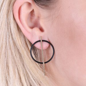 Circle & Bar Stud Earrings