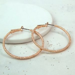 Rose Gold Sparkle Hoop Earrings