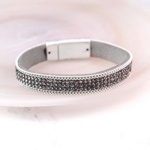 Grey Crystal Leather Bracelet