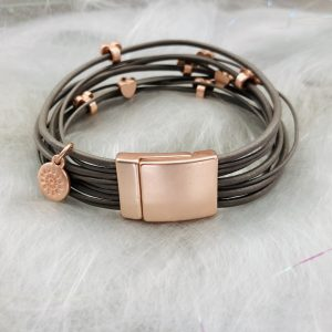 Taupe Leather Heart Bracelet
