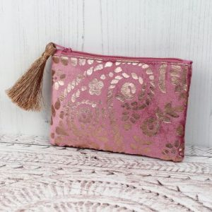 Rose Velvet Purse With Metallic Print