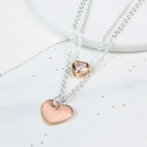 Silver And Rose Gold Plated Layered Hearts Necklace