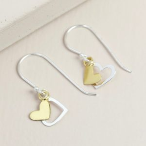 Silver & Gold Double Heart Drop Earrings