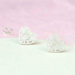 Silver Lattice Heart Studs