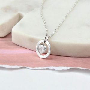 Crystal Heart Circle Necklace