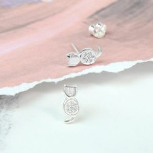 Sterling Silver Crystal Cat Earrings