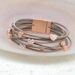 Taupe Leather Rose Gold Crystal Hearts Bracelet