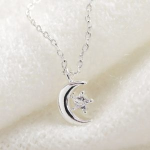 Moon & Star Crystal Silver Necklace