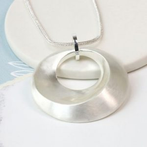Silver bevelled hoop necklace