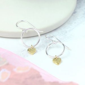 Silver drop earrings with gold plated heart charm